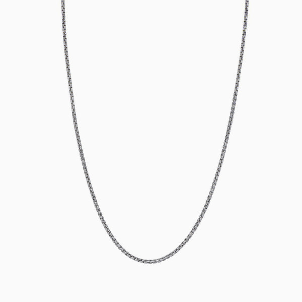 WHITE ROUND BOX CHAIN WITH DIAMOND CUT NECKLACE 2.3MM