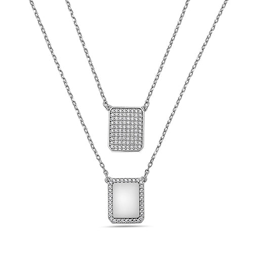 WHITE SCAPULAR PAVE DIAMONDS CHAIN NECKLACE