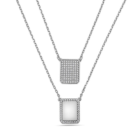 WHITE PAVE DIAMONDS CHAIN SCAPULAR NECKLACE