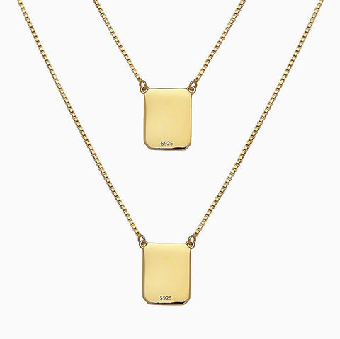 YELLOW BOX CHAIN SCAPULAR NECKLACE