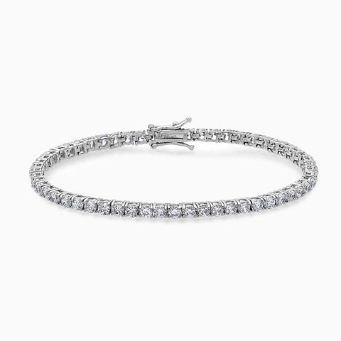 Classic White Everyday CZ Stone Tennis Bracelet  Sterling Silver White CZ Stone Tennis Bracelet  Mens Fashion Jewelry Tennis Bracelet