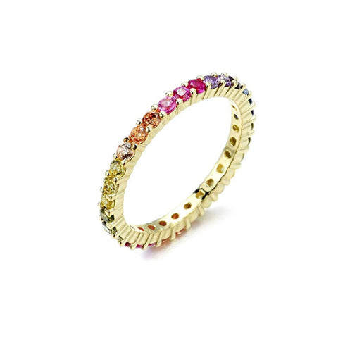 YELLOW-STERLING-SILVER-MULTICOLORED-GEMSTONES-RAINBOW-ETERNITY-BAND-RING-BY-SEVEN50