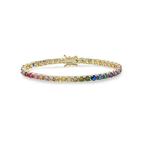 YELLOW GOLD MULTI SAPPHIRE MULTICOLOR TENNIS BRACELET