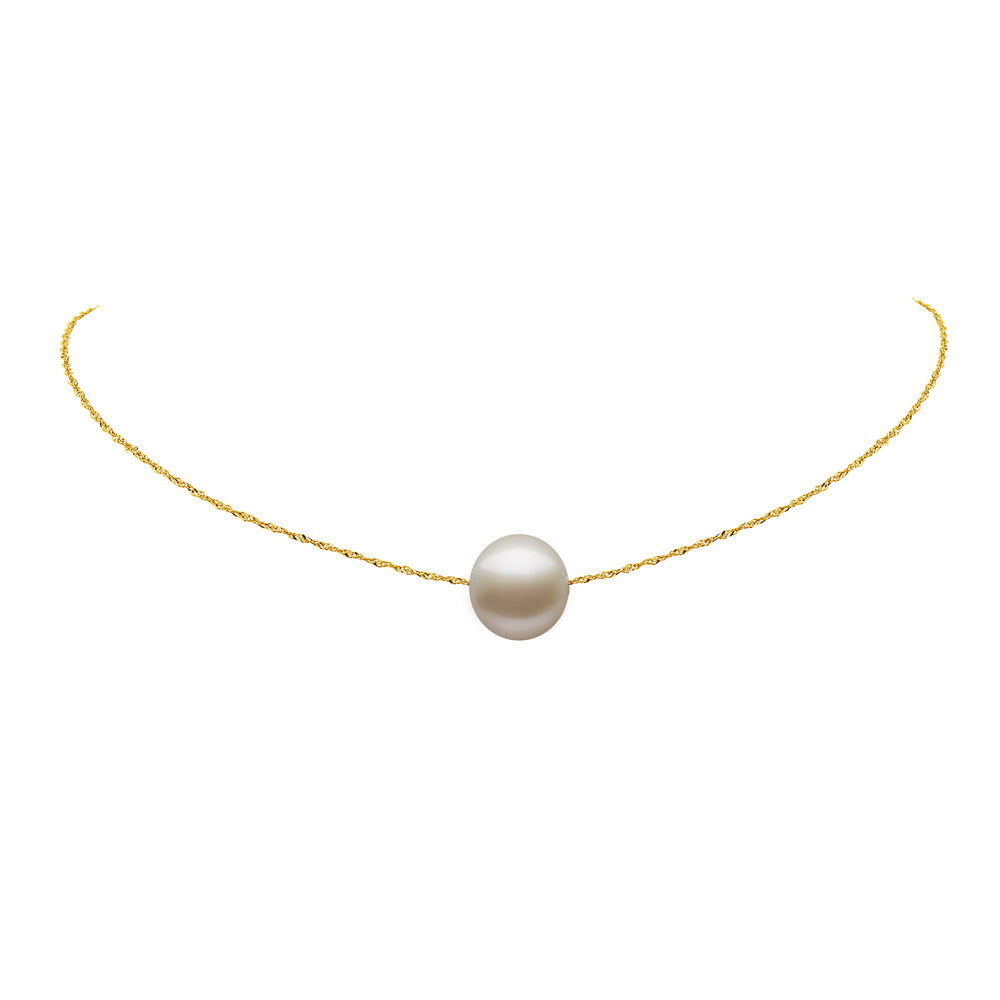 YELLOW Gold SINGLE PEARL CHOKER NECKLACE
