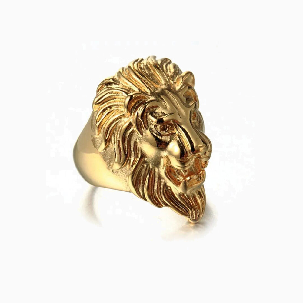 YELLOW LION HEAD RING IN STAINLESS STEEL BY SEVEN50