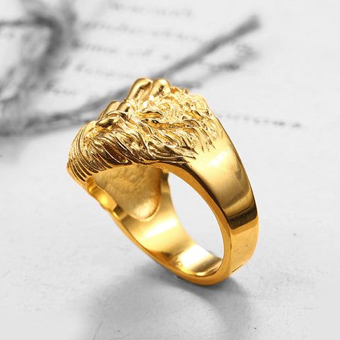 TINY LION HEAD SIGNET RING RING BY SEVEN50