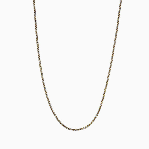 YELLOW ROUND BOX CHAIN WITH DIAMOND CUT NECKLACE 2.3MM