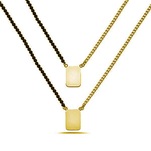 YELLOW SCAPULAR ONE SIDE BEADS ONE SIDE BOX CHAIN NECKLACE