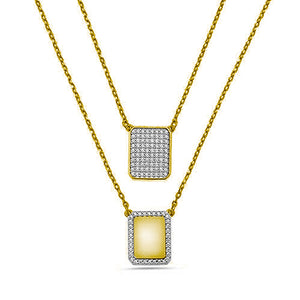 YELLOW SCAPULAR PAVE DIAMONDS CHAIN NECKLACE