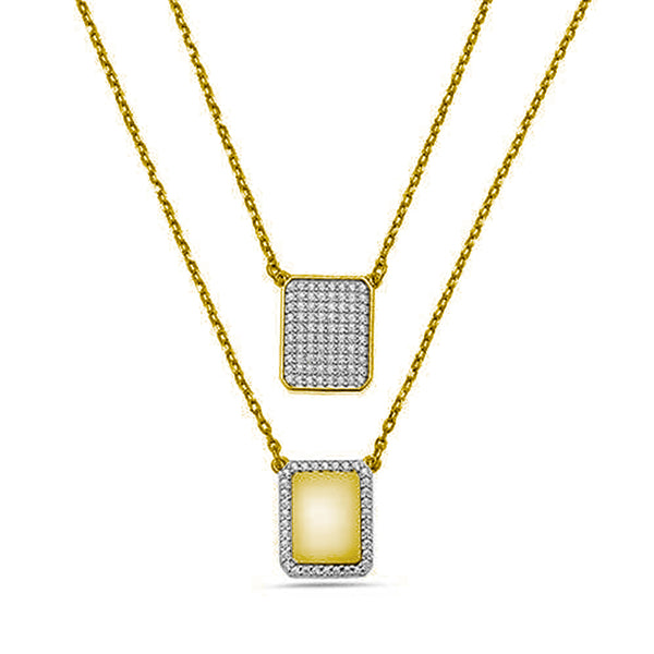 YELLOW PAVE DIAMONDS CHAIN SCAPULAR NECKLACE