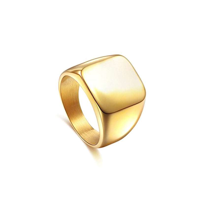 Yellow Stainless Steel Signet Ring by seven50