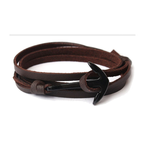 ANCHOR HOOK FLAT LEATHER BRACELET