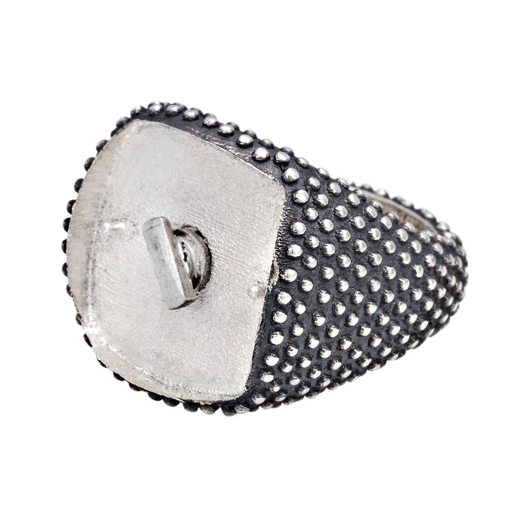 AGED SQUARE SPOTTED RING, anello, SEVENFIFTY, SEVEN50 GROUP USA - SEVEN-50.COM