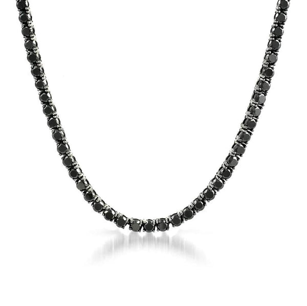 3MM ROUND CUT TENNIS NECKLACE WITH BLACK STONES