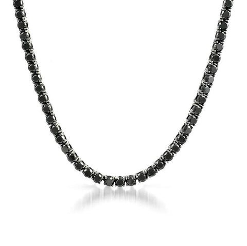 Sterling Silver 3mm-4mm and 5mm Round Cut Black Cubic Zirconia Diamonds Tennis Necklace