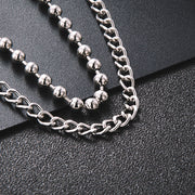 MEN'S 6MM BEADS AND CURB CHAIN WALLET CHAIN