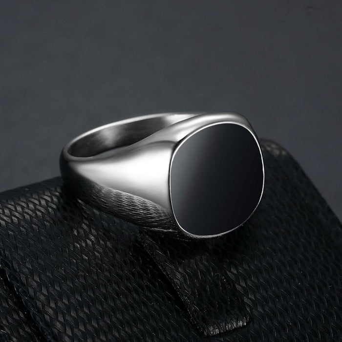 black enamel square signet ring in stainless steel