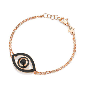 Eye Bracelet Gold Plated with Black Enamel, Bracciale, NETALI NISSIM, SEVEN50 GROUP USA - SEVEN-50.COM