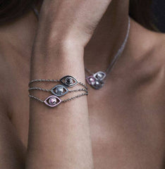 Eye Bracelet in Sterling Silver with Black Enamel, Bracciale, NETALI NISSIM, SEVEN50 GROUP USA - SEVEN-50.COM