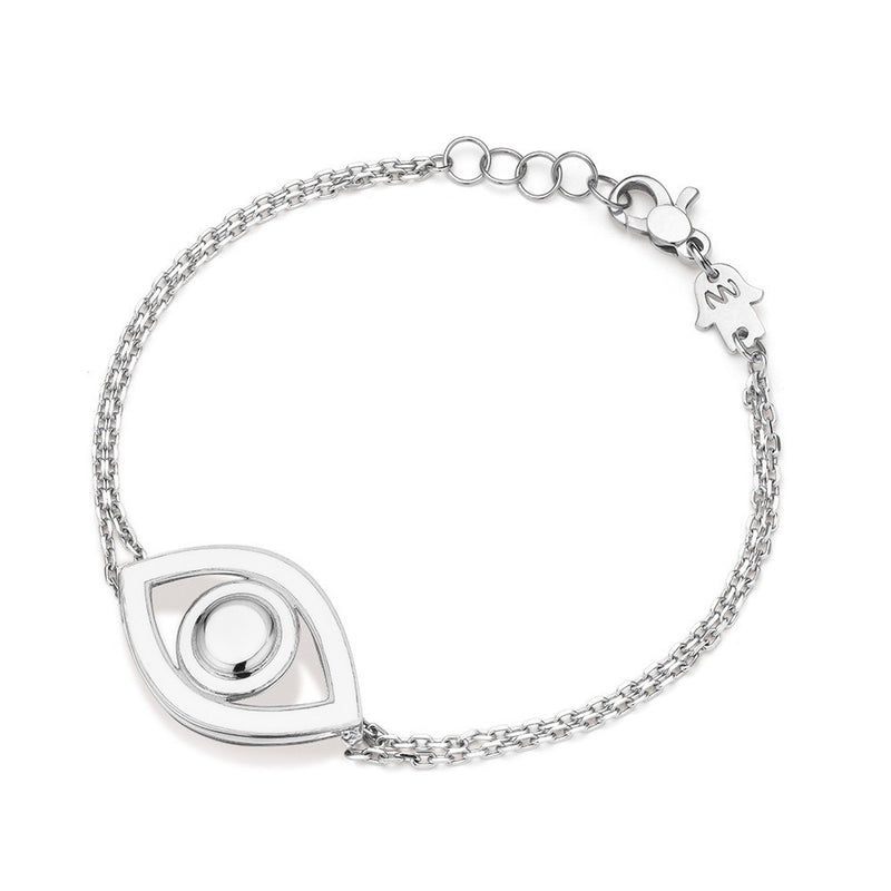 Eye Bracelet in Sterling Silver with White Enamel, Bracciale, NETALI NISSIM, SEVEN50 GROUP USA - SEVEN-50.COM