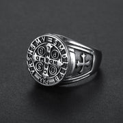 St Benedict Exorcism Ring Stainless Steel Catholic Roman Cross Demon Protection Ghost Hunter