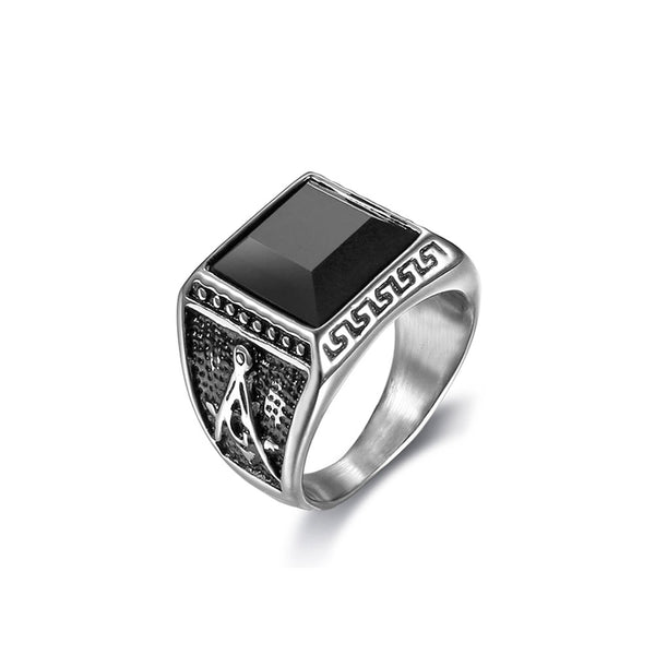 COMPASS BLACK AGATE STAINLESS STEEL RING
