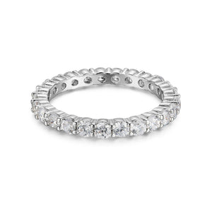 LUXURY 2.5mm CUBIC ZIRCONIA ETERNITY BAND RING