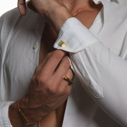 CUFF - CUBIC YELLOW CUFFLINKS by JAYE KAYE for Seven50