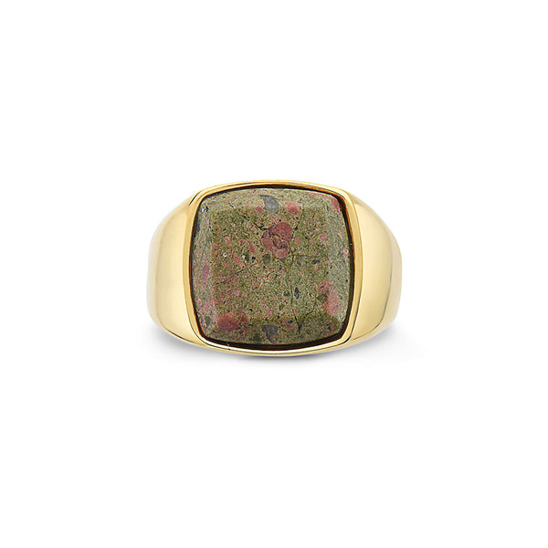 DIEGO BARRUECO 15MM SQUARE GREEN STONE SIGNET RING