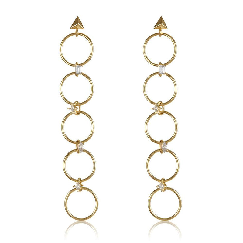 Luv Aj - Scattered Gem Loop Earrings - Gold, EARINGS, LUV AJ, SEVEN50 GROUP USA - SEVEN-50.COM