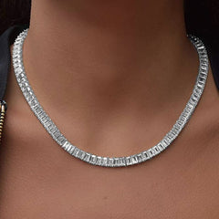 Sterling Women's Luxury Cubic Zirconia Emerald Cut Tennis Necklace