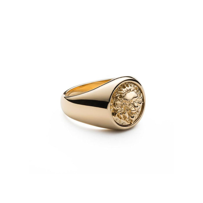 MINIMAL LION HEAD SIGNET RING