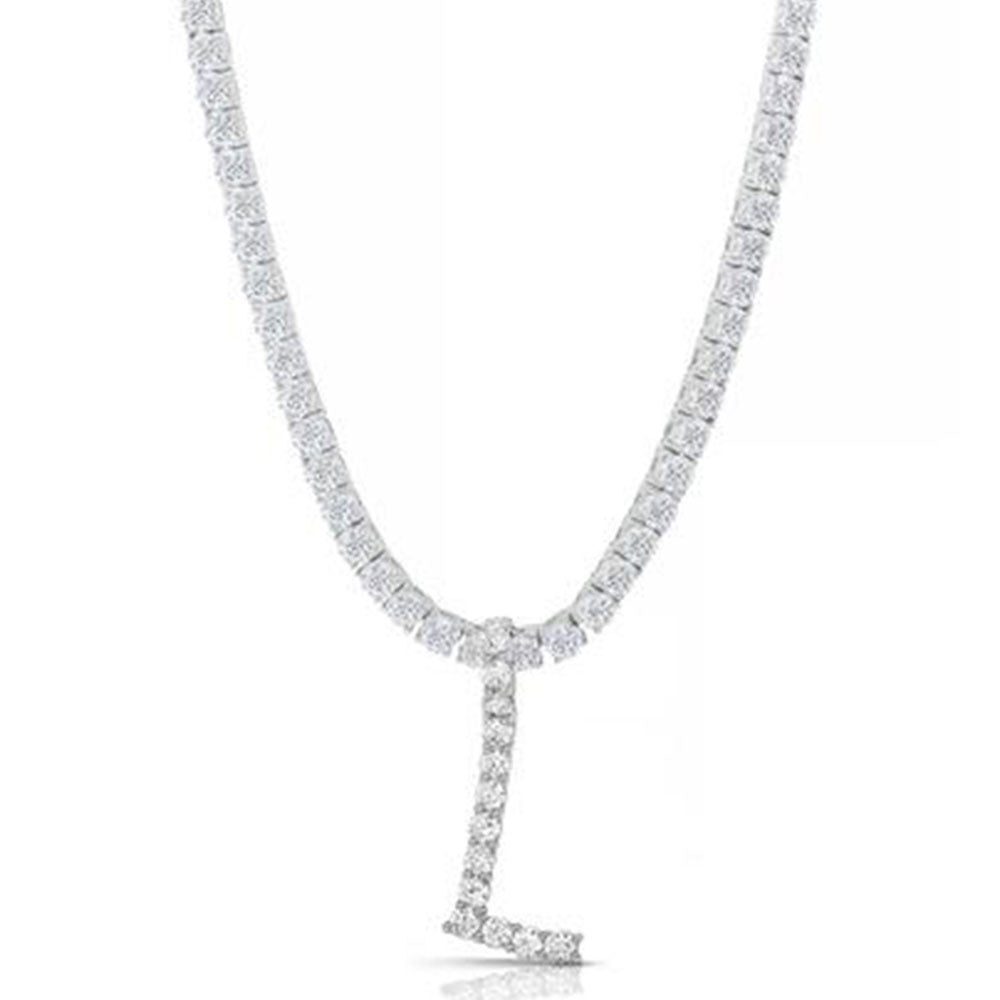 3MM ROUND CUT INITIAL TENNIS NECKLACE WITH WHITE STONES