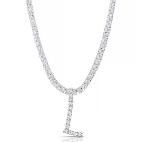 STERLING SILVER 3MM ROUND CUT INITIAL TENNIS NECKLACE WITH WHITE STONES