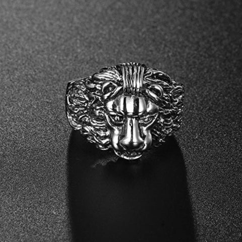 STERLING SILVER KING LION SIGNET RING