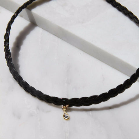 HAATI CHAI - KELSO LEATHER CHOKER WITH DROP, Necklace, HAATI CHAI, SEVEN50 GROUP USA - SEVEN-50.COM