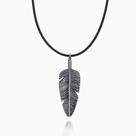 Necklace - SILVER BIG FEATHER NECKLACE by SEVEN50