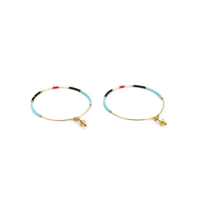 HOOPS MINI MULTICOLOR BEADS EARRINGS, EARINGS, JESSICA MICHEL SERFATY, SEVEN50 GROUP USA - SEVEN-50.COM