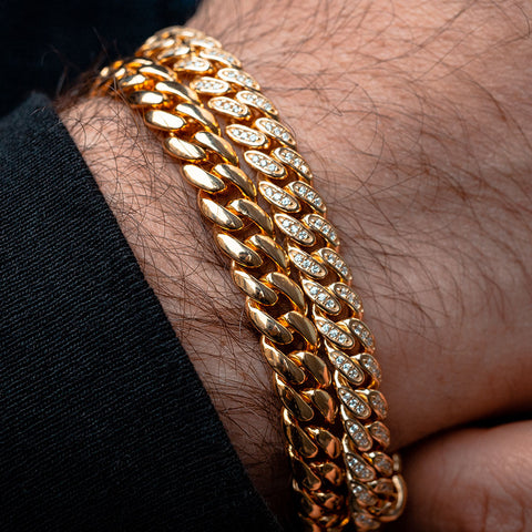 Gold Plated miami cuban link chain 5mm CZ Iced diamonds sterling silver bracelet , mens bracelet , men linked bracelet , diamonds bracelet Active