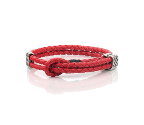 MEN'S WOVEN ADJUSTABLE LEATHER BRACELET