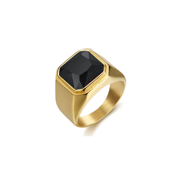 HEAVY BLACK OR RED STONES SIGNET RING
