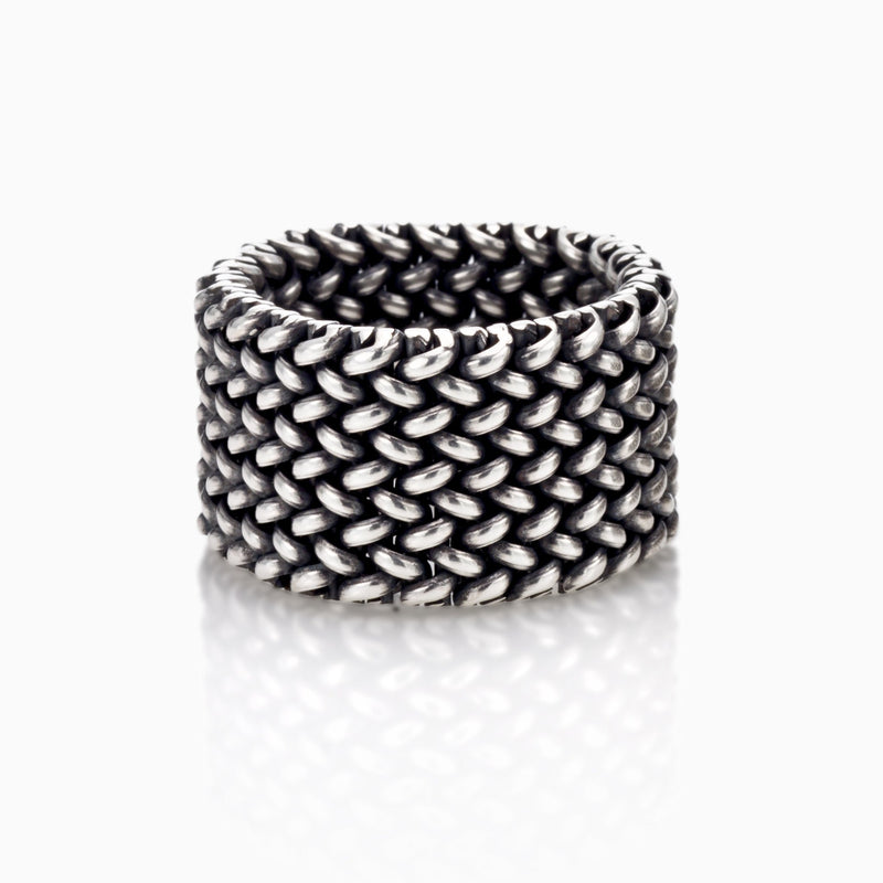 LARGE SILVER LIGHT MESH RING WOMEN MEN SEVEN50 SALE JEWELRY ACCESSORY