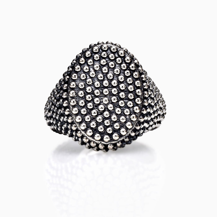 SEVEN50 JEWELRY MEN'S STERLING SILVER DOTTED OVAL RING