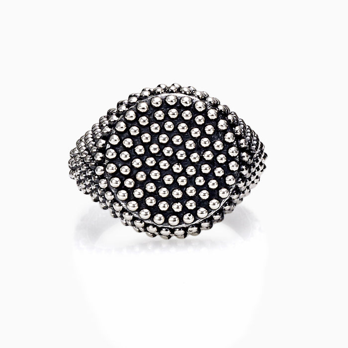 SEVEN50 JEWELRY MEN'S STERLING SILVER DOTTED ROUND RING
