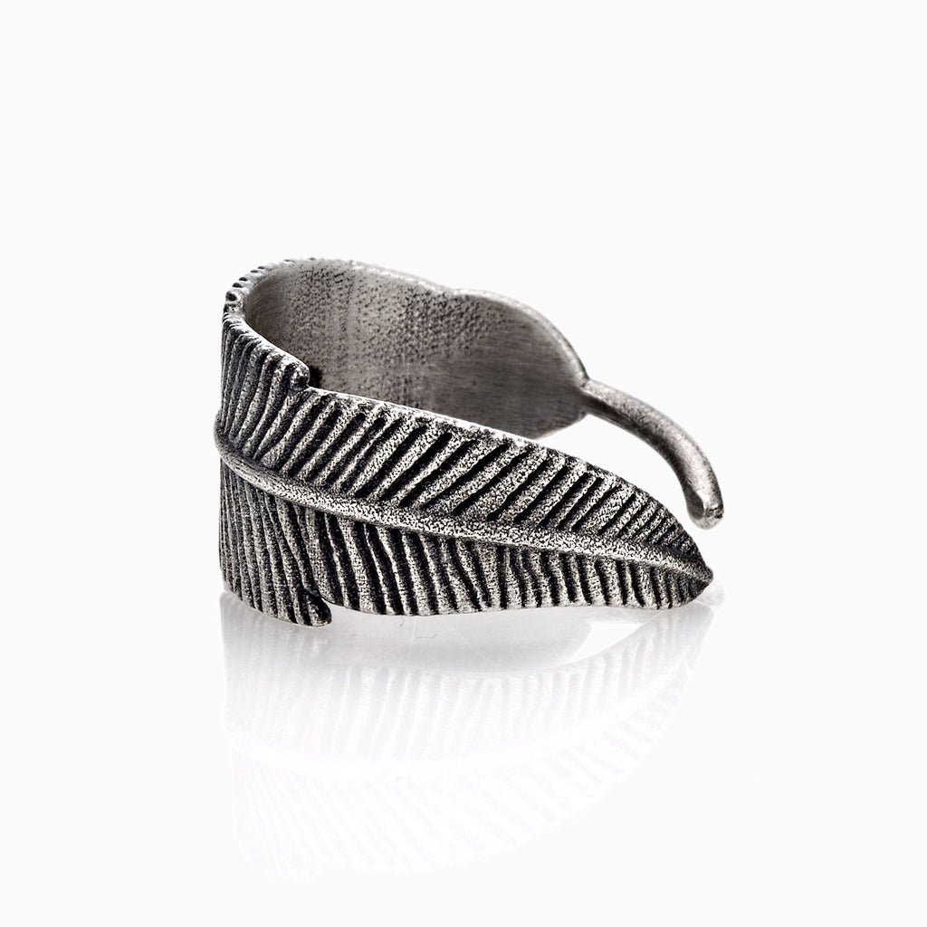 Feather Ring / Fede Feather Ring / Made in Italy sterling silver feather ring , men's feather ring / aged sterling silver feather ring Active