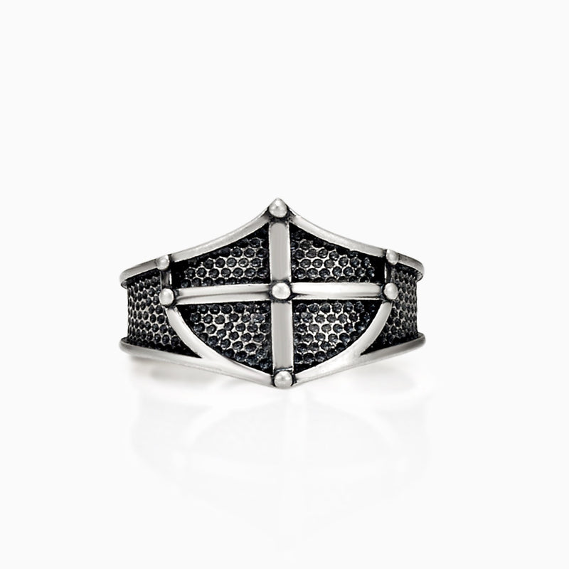 SHIELD CROSS SIGNET RING RING - SHIELD RING SEVEN50 FASHION MEN ACCESSORY JEWELRY STERLING SILVER 925 SILVER