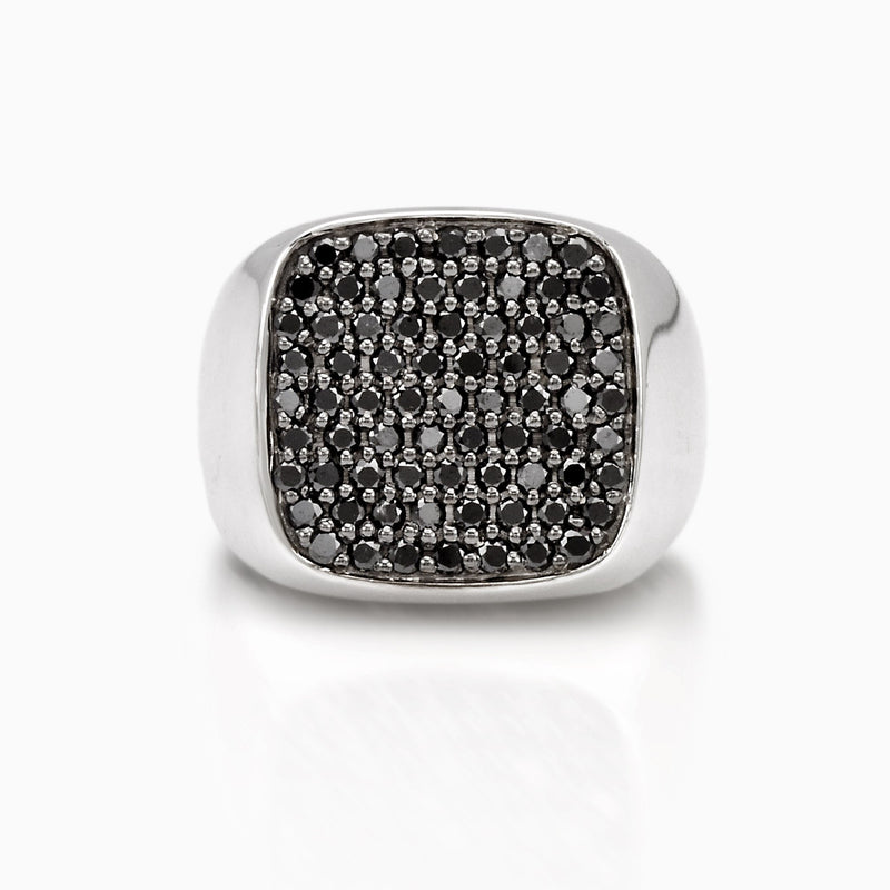 BLACK DIAMONDS SIGNET RING, RING, SEVEN50, SEVEN50 GROUP USA - SEVEN-50.COM