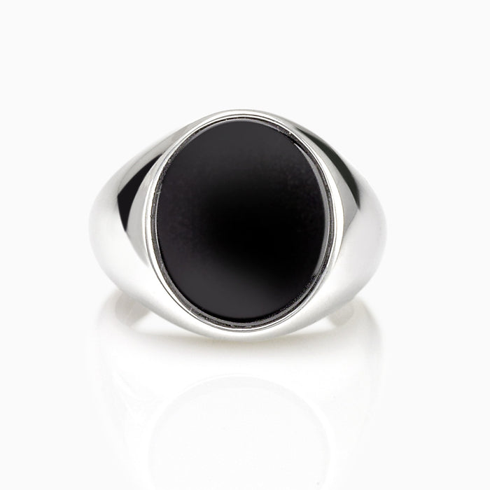 SEVEN50 JEWELRY MEN'S STERLING SILVER OVAL BLACK ONYX RING