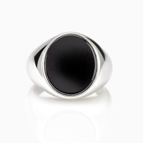 MEN'S STERLING SILVER OVAL BLACK ONYX RING, RING, ANDREA MELCHIORRE, SEVEN50 GROUP USA - SEVEN-50.COM