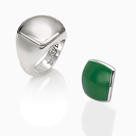 Sterling Silver Made in Italy signet square shape ring + interchangeable head